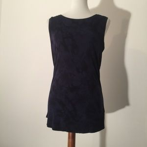 Tahari navy & black tie dye tank top